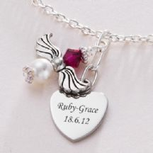 Angel Necklace with Birthstone & Engraving